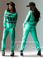 Wholesale Pant Suit Xl - sport wear Tracksuits Women Letter vs Pink Print Sport Suit Hoodies Sweatshirt +Pant Jogging Sportswear Costume 2pc Set