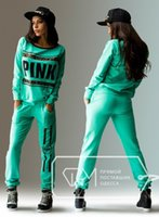 Wholesale Sequin Pink Green - sport wear Tracksuits Women Letter vs Pink Print Sport Suit Hoodies Sweatshirt +Pant Jogging Sportswear Costume 2pc Set