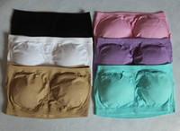 Wholesale Boob Tubes - Women Bandeau Boob Tube Bra With Pads Seamless Stretch Sexy Sports 5 Sizes 3pcs a set wa3625