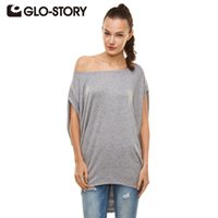 Wholesale Story O - Wholesale- GLO-STORY 2016 New Arrive Women tops Fashional Casual Loose Batwing Sleeve Summer Women T shirt Solid O-neck Tops WPO-1667Z