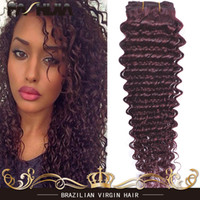 Wholesale Extention Remy - deep wave extention raw Indian Brazilian Peruvian human hair 99j burgundy wine red deep afro curly weave bundles with closure French lace