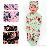 Wholesale girl sleep set - Baby Girls Floral Swaddle Wrap Blanket Bow Headbands Set Infant Flower Swaddle Soft Sleep Sack Baby Wrap Cloth Towel Hairbands Set BHB16