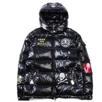 Wholesale Men Snow Coats - Wholesale- Winter Down Jacket Thick Warm Hip Hop Skulls Solid Hooded Men Coat Windproof Snow Jackets Man Outwear Brand Clothing