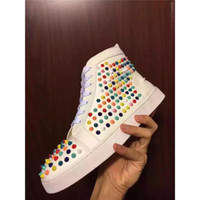 Wholesale Cheap Womens Designer Shoes - Cheap Shoes Red Bottoms sneakers mens womens grey matter leather with Spike Studded high top sneakers,designer causal flat sports shoes