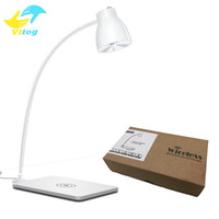 Wholesale Led Rotating Table Lamp - LED Desk Table Lamp Qi Standard Wireless Charger Lamp Charging Light 360 Degree Rotating for Galaxy Note 5 S6 S6 Edge Lumia 930