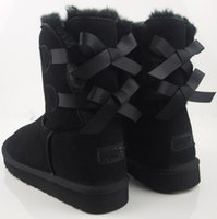 Wholesale Christmas High Heels Boots - 2017 Free shipping new High Quality Christmas Promotion Womens BAILEY BOW Boots NEW Snow Boots for Women Bind bowknot boots 3280