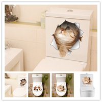 Wholesale Stained Sticker - 2017 Waterproof Cat Dog 3D Wall Sticker Hole View Bathroom Toilet Living Room Home Decor Decal Poster Background Wall Stickers