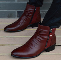 Wholesale Italian Ankle Boot - Wholesale-Fashion Luxury Brand Mens Leather Boots Genuine Zipper Black Wine Red Crocodile Leather Joint Italian Designer Dress Ankle botas