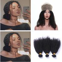 brasilianischen natürlichen afro jerry großhandel-360 Lace Frontal mit Bundle Baby Haar engen Jerry Curl natürliche Farbe brasilianischen verworrenes lockiges Haar 3pcs Afro verworrenes lockiges Haar mit 360