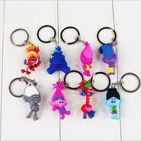 Wholesale Guy Pendants - New Movie Trolls Keychain Poppy Branch Pendants DJ Suki Biggie Guy Diamond Cooper Mini Model Toy for Kids