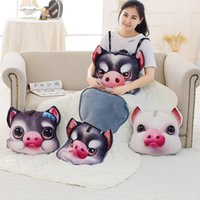 Wholesale Dog Plush Blankets - Cute Cushion Soft Blanket Creative Kids Gifts 3D Expression Animal Pillow Plush Toy Stuffed Cat Dog Pig Pillow birthday gift