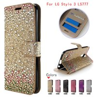 Wholesale Diamond Case Lg - For LG Aristo LV3 V3 Stylo 3 LS777 For zte zmax pro z981 MetroPCS Diamond Rhinestone bling wallet case cover credit card slots