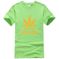 Wholesale Maple Neck Yellow - Wholesale Addicted Letter Printed Maple Leaf Casual O Neck Women Cotton T Shirt Girls Short Sleeve Tops Loose T-shirt
