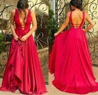 Wholesale Cheap Prom Dress Open Back - Newest Red Deep-V-Neck Sleeveless Prom Dresses 2017 Sexy Open-Back Floor Length Formal Dresses Evening Wear Cheap Party Gowns