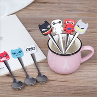 Wholesale Spoons Desserts Stainless - Wholesale- Cartoon silicone handles stainless steel ice cream dessert spoon stirring Children's Spoon Soup coffee spoon tableware AU249