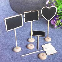 mini tezahürat tahtası toptan satış-Düğün Dekorasyon Mini Kara Tahta Blackboard Koltuk Standı Düğün Lolly Kalp Retangle Desen Parti Etiketler başına 12 Adet lot