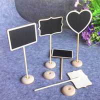 etiquetas para la boda al por mayor-Decoración de la boda Mini Pizarra Pizarra Asiento Soporte Wedding Lolly Corazón Retangle Patrón Partido Etiquetas 12 Unids Por lote