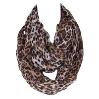 Wholesale Soft Leopard Print Scarfs - Wholesale- Fashion Ladies Cheap Super Soft Leopard Animal Print Polyester Infinity Scarf Women Scarves 210*80cm