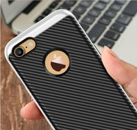 Wholesale Iphone 4s Carbon Fiber Cover - Carbon Fiber Flexible TPU cover electroplating PC frame Hybrid bumblebee case slim armor for iPhone 7 6 6S Plus 6Plus 7plus 5C SE 5 5S 4 4S
