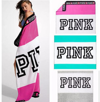 Wholesale Good Quality Blankets - Good Quality VS Pink Blanket Towel 130*150cm Striped Pink Letter Washcloth Outdoor Swimwear Blanket Beach Towels 8 Colors