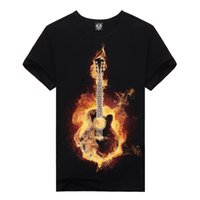 Wholesale Guitar Clothes - Wholesale- 2016 Brand New Men Casual Lycra Black T-shirts Rock Guitar Print Summer T-shirt Clothing Asian Size Free Shipping