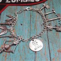 Wholesale gun cuff for sale - Group buy 12pcs Walking Dead gun wing arrow Charm Bracelet keep calm and kill the zombies Cuff Bracelet silver tone
