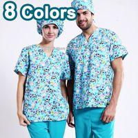 Wholesale Uniform Scrubs - Cute Medico uniformes hospital women medical robe scrubs clothing dental clinic beauty salon nurse uniform spa work wear surgical suit dog