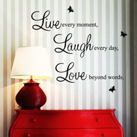 Wholesale 3d Paper Butterflies - Wall Paper Quote Vinyl 3D Butterfly Wall Art Live Every Moment Laugh Every Day Word Wall Art