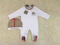 freie set kleidung großhandel-2er Set Baby Strampler Classic Gitter Neugeborene Overalls Bestickte Pferd Kleinkinder Overall / Strampler Kinder Markenkleidung Versandkostenfrei