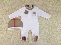 marques de vêtements classiques achat en gros de-2pcs ensemble bébé barboteuse grille classique combinaisons nouveau-nés brodé cheval enfants en bas âge combinaison / vêtements de marque enfants barboteur livraison gratuite