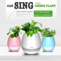 Wholesale flower speakers resale online - 2017 New bluetooth Smart Music Flower ports intelligent real plant touch play flowerpot colorful light long time play bass speaker