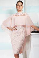Wholesale Mae Noiva - Pink Vintage Lace Appliques Knee Length Mother of the Bride Dresses With Cape 2017 vestido mae da noiva Evening Gowns Plus size