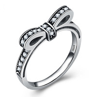 Wholesale Bow Ring Wedding Band - Hot sale S925 Ancient Silver bow knot Rings Fine Sparkling Bow With diamond Rings For Women compatible with Pandora jewelry top quality