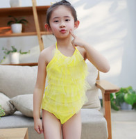Wholesale Cute One Piece Swimsuit Bow - Children swimsuit girls bows backless siamese swimsuit children tulle tiered falbala beach swimwear cute kids spa bathing suit T2424