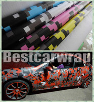 Wholesale Colors Stickers - VARIOUS Colors Pixel Camo Vinyl Car Wrap Film With Air releas Digital Camouflage Truck wraps covering styling Foil size 1.52x30m Roll 5x98ft