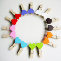 Wholesale Paper Clip Set - 50pcs set Love multicolour folder wedding small wooden clip mini wooden clip 10 color Heart Shape Wooden Paper Note Memo Clip