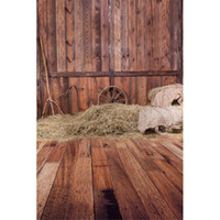 Wholesale Wood Barn - Vintage Brown Wood Floor Wall Rustic Backdrop Straw Barn Digital Backgrounds for Photo Child Kids Photography Backdrops