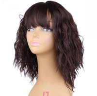 Wholesale Wig White Short Curly - Ombre Brown 14 inches Kinky Straight Wig With Bangs Short Wigs for Black and White None Lace Front Wig Heat Resistant