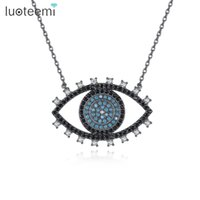 Wholesale big stone necklaces - LUOTEEMI New Cool Design Big Eye Pendant Cute Christmas Birthday Gift for Women Blue Black Clear CZ Stone Necklace Jewelry