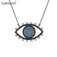 design colares grande pingente venda por atacado-LUOTEEMI New Cool Design Big Eye Pingente de Presente de Aniversário de Natal Bonito para As Mulheres Azul Preto Claro CZ Pedra Colar de Jóias