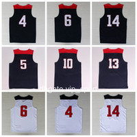 Wholesale Roses Names - 2014 USA Basketball Jerseys Man 13 James Harden 10 Kyrie Irving 4 Stephen Curry 6 Rose 5 Kevin Durant 14 Anthony Davis With Player Name