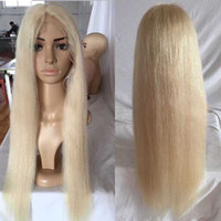 Wholesale Platinum Long Wigs - Color #60 Platinum Blonde Glueless Full Lace Human Hair Wig 130 Density Silky Straight Long Blonde Full Lace Wig With Baby hair
