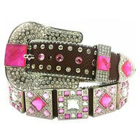 Wholesale Western Cowgirl Rhinestones Bling Women Colorful Studded Fashion Belt
