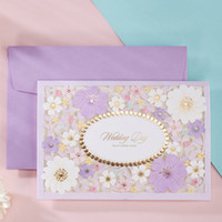 Wholesale Lavender Flower Wedding Invitations - Light Purple Kinds Small Flowers Wedding Invitations Cards, By Wishmade, CW7025