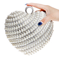 Wholesale Clutch Bag Ring Handle - Rhinestones Women Handbags Handle Finger Ring Diamonds Heart Shaped Beaded Day Clutches Purse Evening Bags