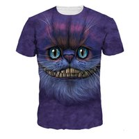 Wholesale Teenagers Casual Shirts - New Style Men's Cheshire Cat Digital Print T-Shirts Europe American Men's Short Sleeve Sport Tees Teenager Hip Hop Casual T-Shirts