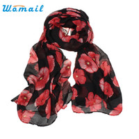 Wholesale Man Steal - Wholesale- Womail Good Deal Good Deal New Women Red Poppy Flower Print Long Scarf Flower Beach Wrap Ladies Stole Shawl Gift 1PC