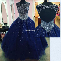 Wholesale Dres For Party - Custom Made Navy Blue Ball Gown Quinceanera Dresses 2017 Sparkly Beaded Crystal Hollow Back Illusion Jewel Neck for Sweet 16 Prom Party Dres