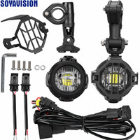 Wholesale Kit Harness - LED Auxiliary Fog Light + Protect Guard + Wiring Harness For BMW R1200 GS  ADV Motorcycle Front headlight Fog Lamp LED Running light