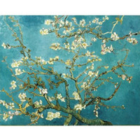Wholesale Van Gogh Framed Oil - Blossoms Tree Floral by Van Gogh,Genuine Handpainted Modern Wall Decor Landscape Art Oil Painting On Quality Canvas Multi sizes Available lu